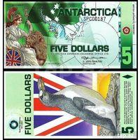 Антарктика 5 долларов 2008 год UNC  распродажа