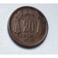 Чили 20 сентаво, 1943 6-3-18