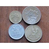 Четыре монеты с 1 рубля 21