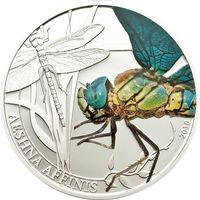 """Палау 2 доллара 2010г. """"Мир насекомых. Стрекоза"""". Монета в капсуле; подарочном футляре; номерной сертификат; коробка. СЕРЕБРО 15,5гр."""