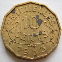 3. Сейшелы 10 центов 1953 год