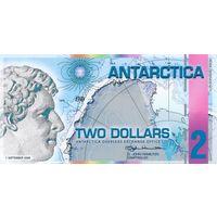 Антарктика 2 доллара 2008 год UNC  распродажа