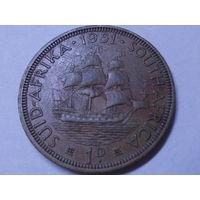Южная Африка 1 пенни 1951 Георг VI.Корабль.