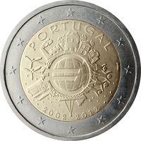 2 евро Португалия 2012 10 лет наличному обращению евро UNC из ролла