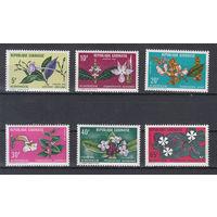 Цветы. Габон. 1972. Полная серия. Michel N 464-469, (8,0 е)