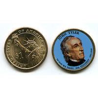 США ЦВЕТНОЙ доллар 2009 JOHN TYLER UNC
