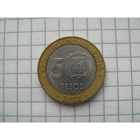 Доминиканская Республика 5 песо 2002г.