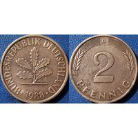 ФРГ, 2 пфеннигa 1988 D. монетный двор Мюнхен