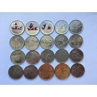 Набор из 20 монет Канады. 18 х 25 центов + 2 x 1 доллар. Олимпиада Ванкувер 2010. UNC