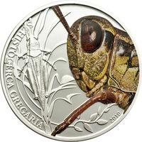 """Палау 2 доллара 2010г. """"Мир насекомых. Кузнечик"""". Монета в капсуле; подарочном футляре; номерной сертификат; коробка. СЕРЕБРО 15,5гр."""