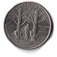 США. 1/4 доллара (1 квотер, 25 центов). 2001. Вермонт. P