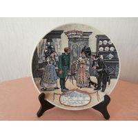 Тарелка 4 коллекционная фарфор художник Frederic Regamey изготовитель Sarreguemines Франция диаметр 22.5 см.