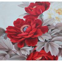 Картина маслом 117 бело-красные пионы 60х90