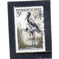 Нигер.  Mi:NE 3. Седловидный аист (Ephippiorhynchus senegalensis). Серия: Защита животных. 1960.