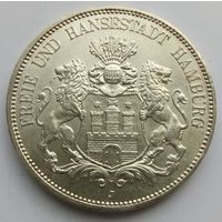 5 марок 1913 Гамбург UNC