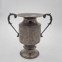 Винтажная металлическая ваза для цветов с ручками, роспись.
