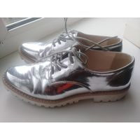 Туфли металика серый лак кожа р.38