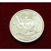 25 центов (квотер) 2002 Теннеси, серебро, proof, San Francisco mint