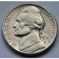 США, 5 центов 1971 г. D
