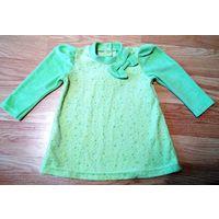 Тёплое платье велюр (хлопок), нежно салатового цвета.