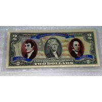 "2 доллара ""Westward journey of Lewis and Clark""  - цветные, UNC"