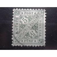 Вюртемберг 1881 служебная марка 5пф