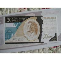 Польша. 20zl., 2010г.,UNC., коллекционные, 200.rocznica urodzin Fryderyka Chopina.