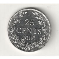 Либерия 25 цент 2000