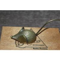 """Тяжёлая, латунная миниатюра """"МЫШЬ"""", высота с хвостом 6 см., длина с хвостом 12 см."""