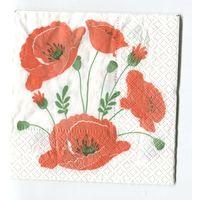 Салфетка для декупажа. Летняя, маки, цветы. 24х24 см