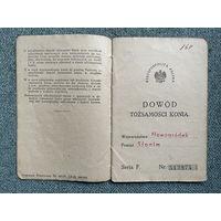 Пашпарт на каня / Паспорт на коня / Навагрудак Слонім Вялікая Кракота 1939 год