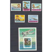 Авиация. Летчики и самолеты. Верхняя Вольта. 1978. 5 марок и 1 блок б/з. Michel N 706-710, бл49.