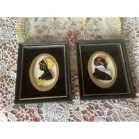 Панно Картина на стекле Портретная Дама и Кавалер Англия Живопись винтаж