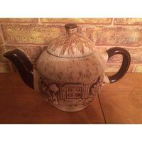 Необычный красивый чайник из качественной керамики, новый, есть фабричный дефект (на фото3 виден, но это трещинка не от удара, а фабричный брак). Чайник примерно на 750 мл,высота 15 см с крышкой.Необы