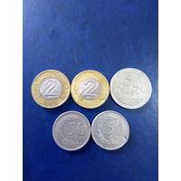 Сборный лот Польша 2злотых и 50 грошей без повторов