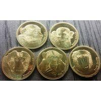 Сомалиленд 5 шиллингов 2017г. набор из 5 монет.Обезьяны.НОВИНКА!!!