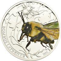 """Палау 2 доллара 2011г. """"Мир насекомых. Шмель"""". Монета в капсуле; подарочном футляре; номерной сертификат; коробка. СЕРЕБРО 15,5гр."""
