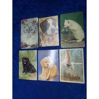 6 календариков с животными начала 90-х
