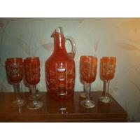 Набор из красного стекла для ликера