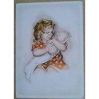Девочка с младенцем. Дети. Германия. 1950-е. Чистая.