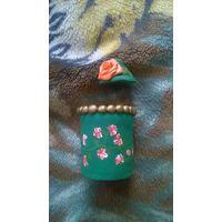 Шкатулка зелёная с розочкой (керамика)