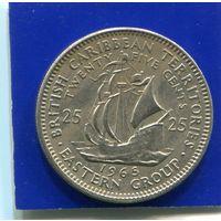 Карибские острова 25 центов 1965