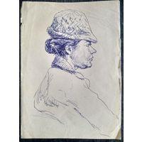 Крохалев Петр. Дама в шляпке. Рисунок. Бумага.  Шариковая ручка. 21х29 см.