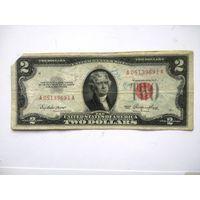 США 2 $ красная печать 1953 (обрезан угол)