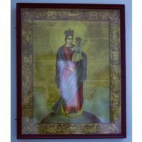 Икона католическая (литография) в красивом киоте 19 в. Большая.