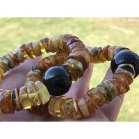 Браслет янтарный -ПОЛИРОВАННАЯ ШАЙБА С ШАРОМ-натуральный балтийский камень-новый