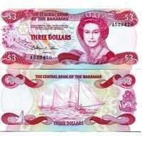 Багамские острова(Багамы) 3 доллара образца 1974(1984) года UNC p44A