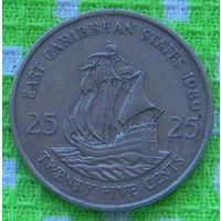 Восточные Карибские острова. Карибы 25 центов 1989 года. Корабль. Инвестируй в коллекционирование!