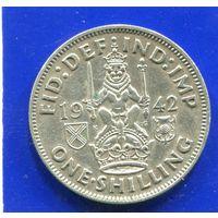 Великобритания 1 шиллинг 1942 , Шотландский , серебро
