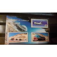 Транспорт, техника, авиация, самолеты, автомобили, машины, поезда, железная дорога, марки, Таджикистан, 2001 блок